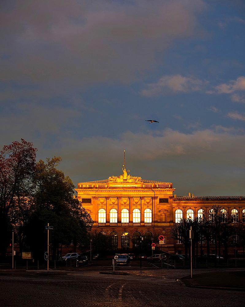 Palais Universitaire, University building at sunset Strasbourg Alsace France.
