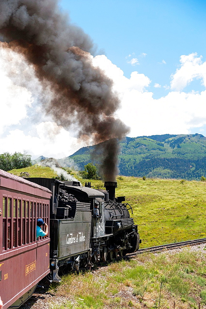 USA, New Mexico, Chama. The Cumbres and Toltec Scenic Railroad.