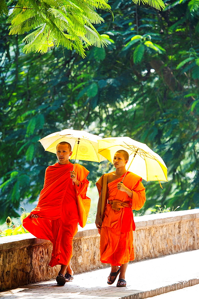 Young novice monks walk along the bank of the Nam Khan river in Luang Prabang, Laos.