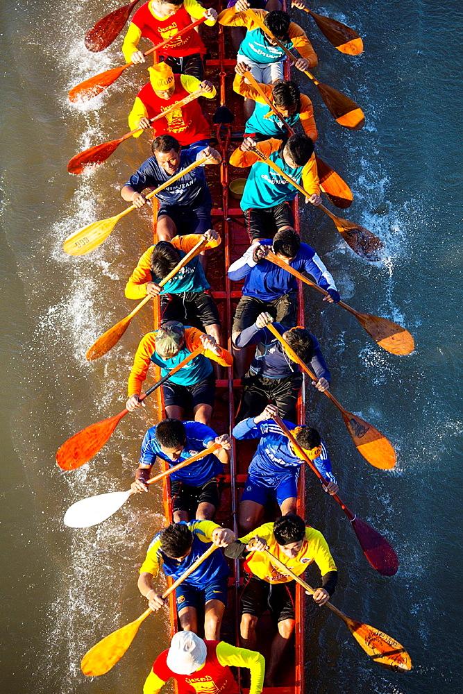 The boat race festival in Paske, Laos.