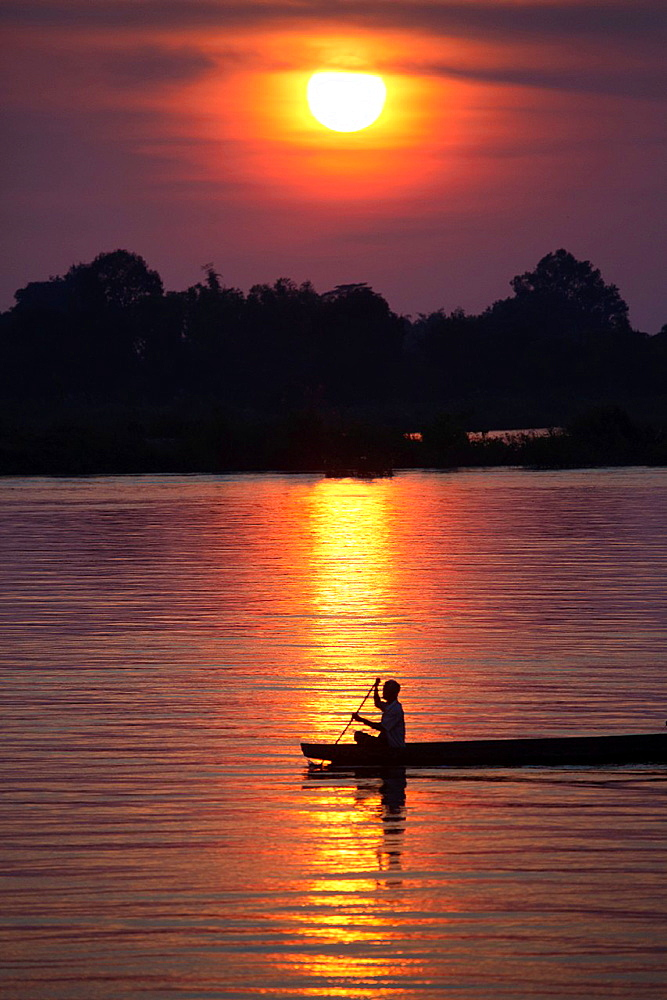Don Det an island in the Mekong River, 4000 Islands in Southern Laos.