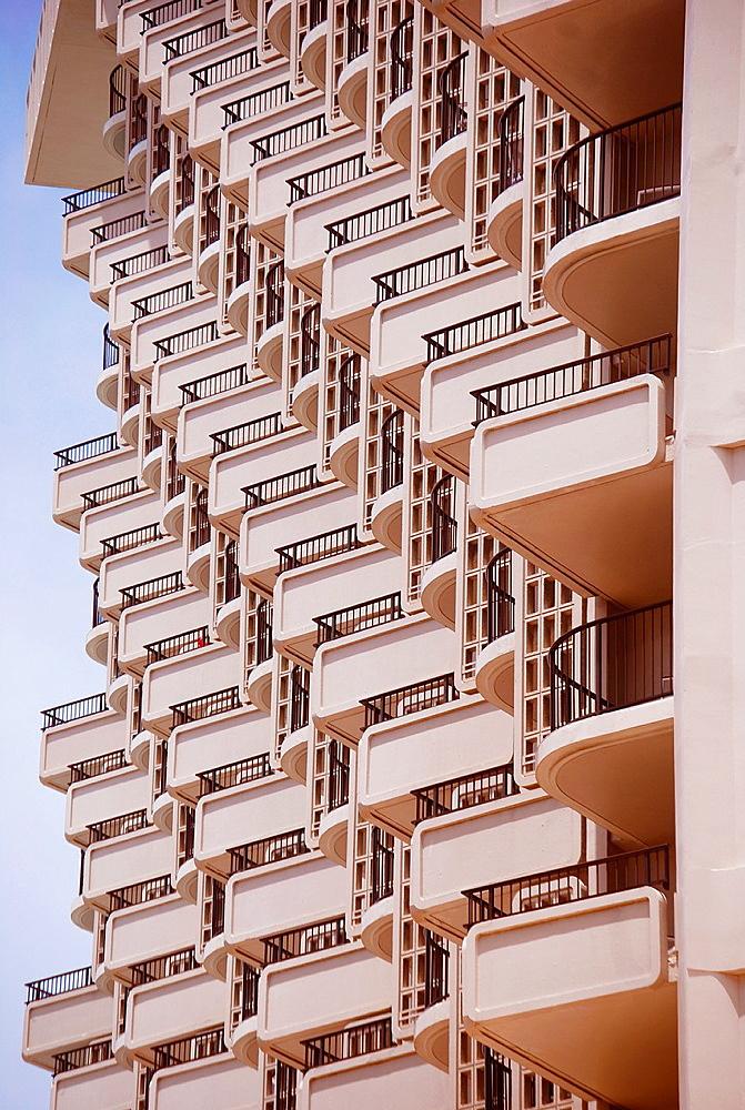 balconies, hotel, Honolulu, Hawai'i.