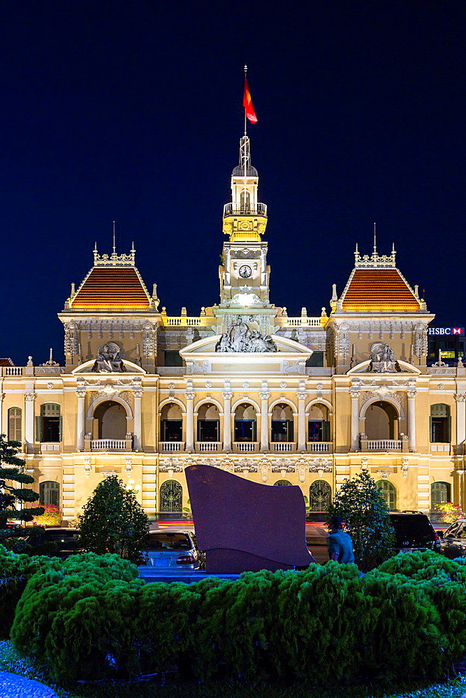 The City Hall building illuminated at night in Saigon, Ho Chi Minh City, Vietnam, Asia.