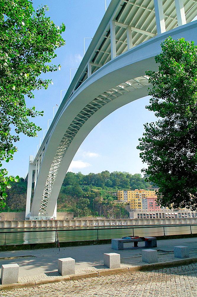 Porto Portugal. Arrabia bridge over the Douro River in the city of Porto.