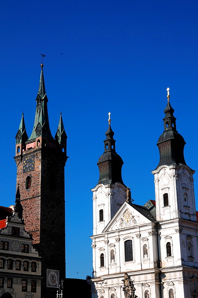 Jesuit church of Santa Maria and black tower in Klatovy