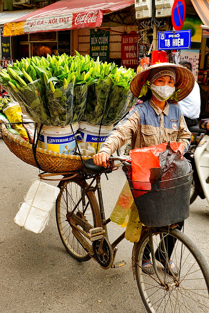 flower vendor in Hanoi, Vietnam.