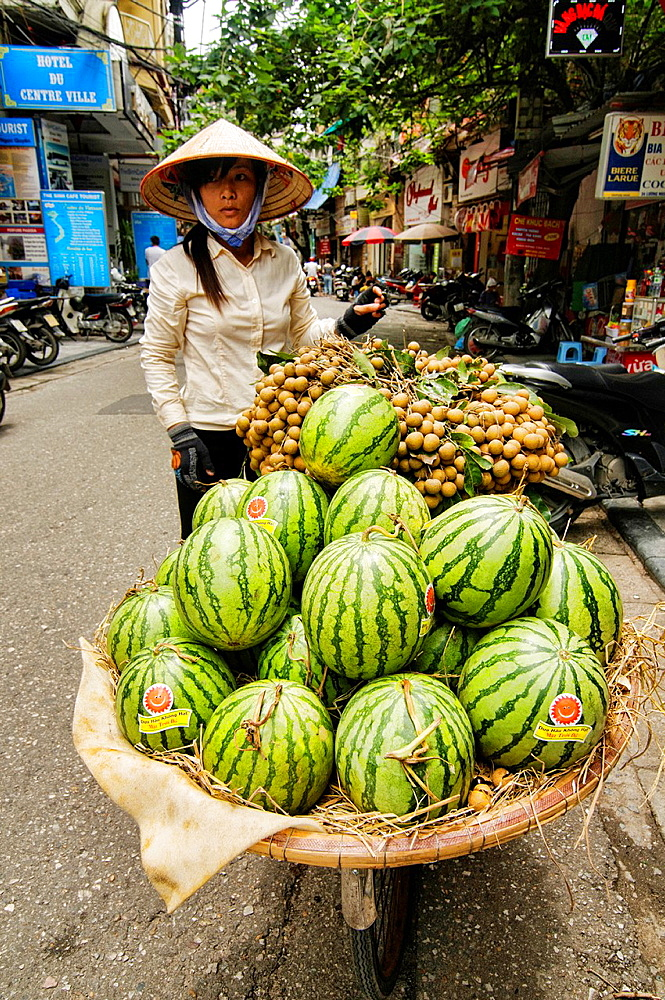 watermelon vendor in Hanoi, Vietnam.