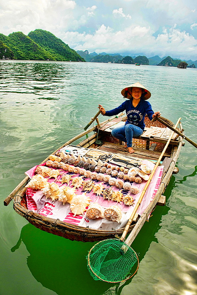 Boat vendor in Halong Bay, Vietnam.