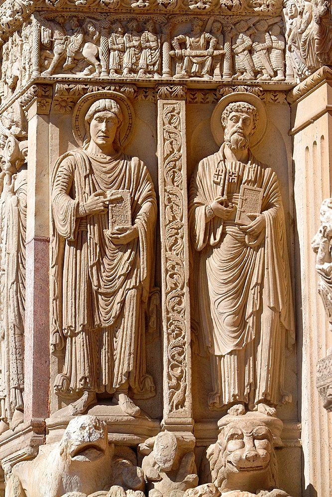 Detail of a bas-relief on entrance of Saint Trophimus cathedral 12th century, monument declarated World Heritage by UNESCO. Arles, Bouches-du-Rhone department, in Provence-Alpes-Cote d'Azur, France.