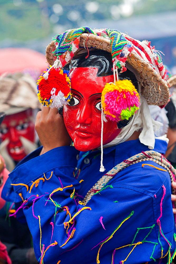 Man in festival mask, Rabinal, Guatemala