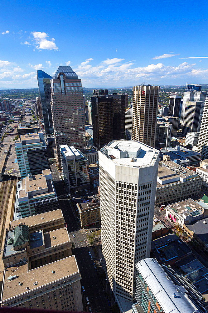 Aerial view of Downtown Calgary in Alberta, Canada