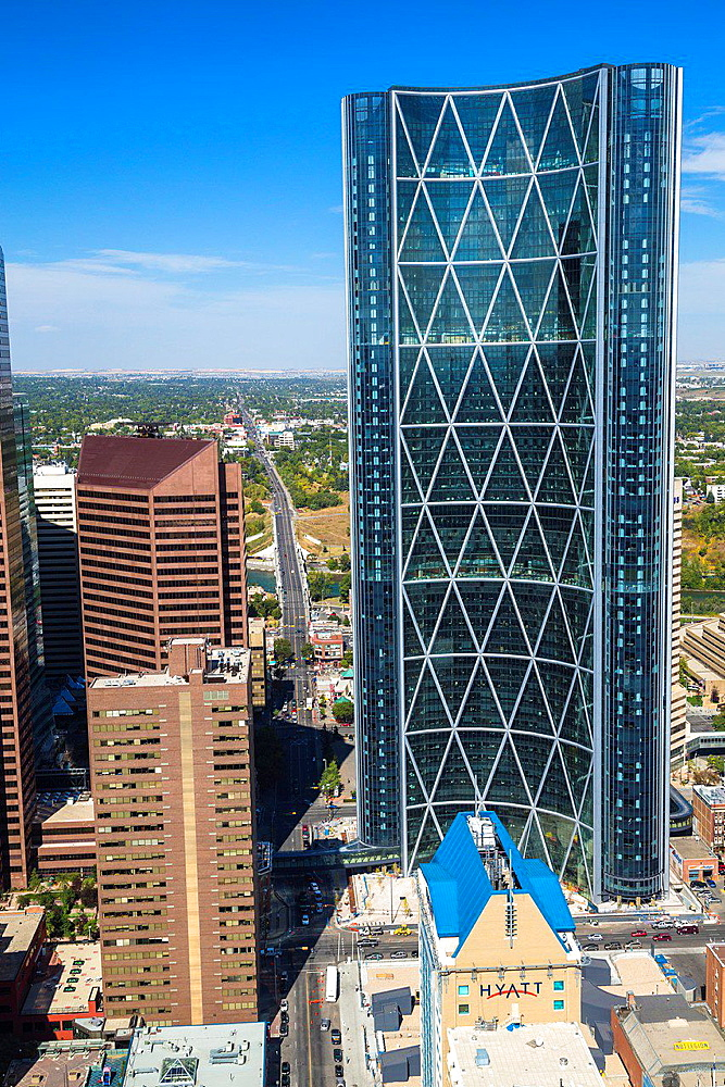 Aerial view of Downtown Calgary with Bow Tower in Alberta, Canada
