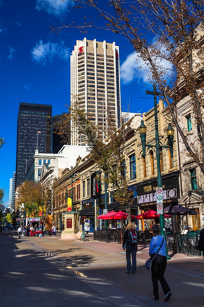 Skyscrapers and shops in downtown Calgary, Alberta, Canada