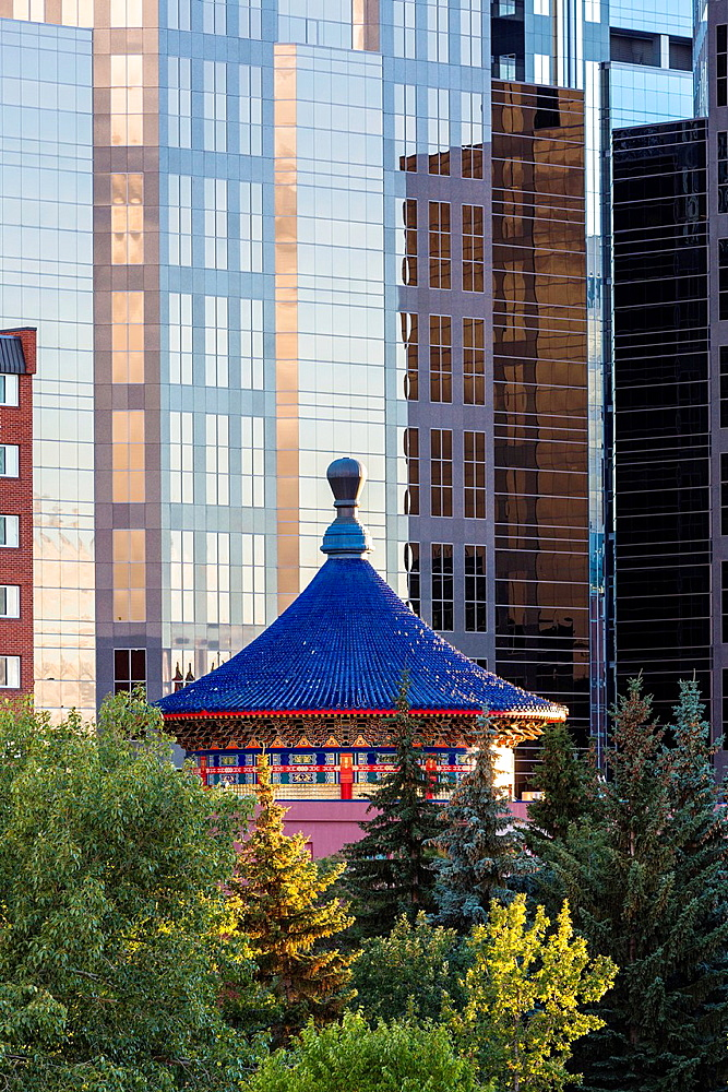 Skyscrapers and the Chinese Cultural Centre in Calgary, Alberta, Canada