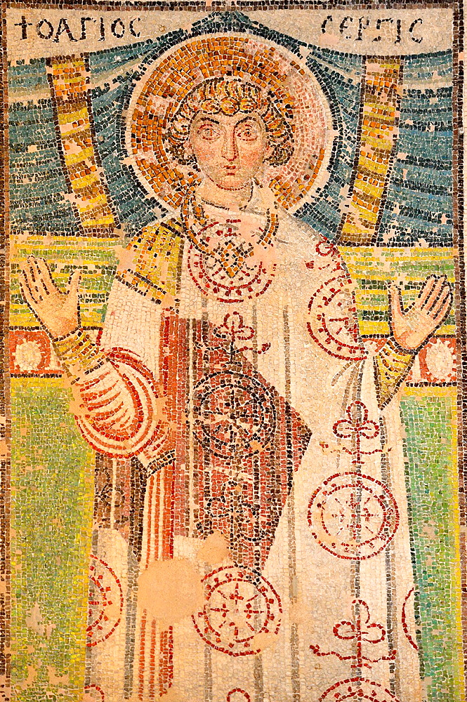Greece, Central Macedonia, Thessaloniki, Church of Agios Dimitrios, listed as World Heritage, Paleochristian mosaic of St Serge 7th C