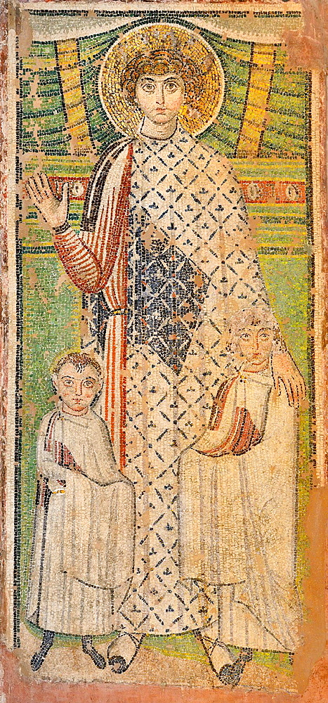 Greece, Central Macedonia, Thessaloniki, Church of Agios Dimitrios, listed as World Heritage, Paleochristian mosaic of St Dimitrios holding two children 7th C
