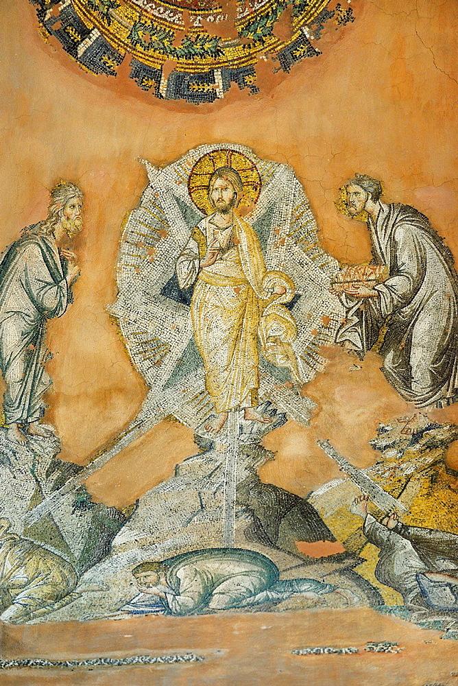 Greece, Central Macedonia, Thessaloniki, Agii Apostoli Holy Apostles church, listed as World Heritage, Mosaic of the Transfiguration 14th C