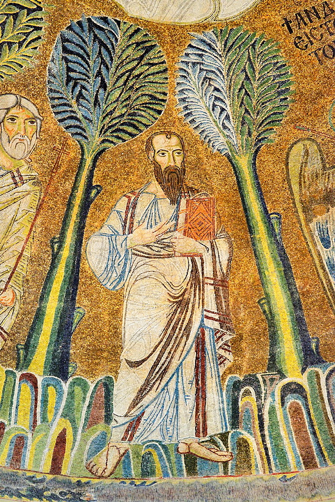 Greece, Central Macedonia, Thessaloniki, Agia Sophia church, listed as World Heritage, Paleochristian mosaic of the Ascension of Jesus Christ 9th C, Apostle