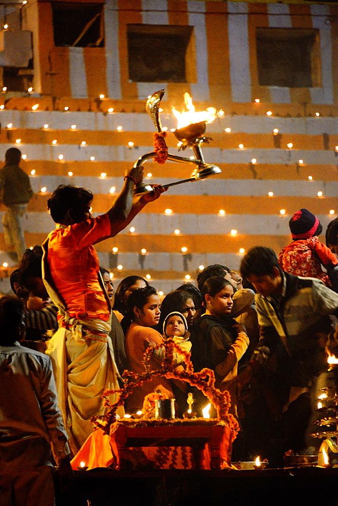 India, Uttar Pradesh, Varanasi, Dev Deepawali festival, Aarti, Offering of light to the Ganges.