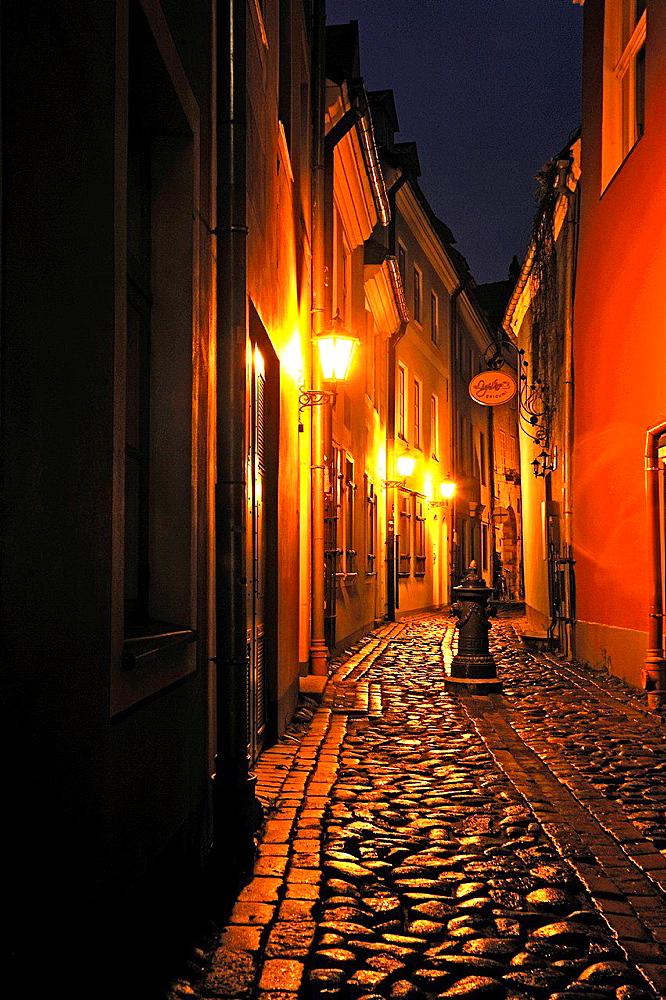Troksnu narrow street near the Parliament, Riga, Latvia, Baltic region, Northern Europe.