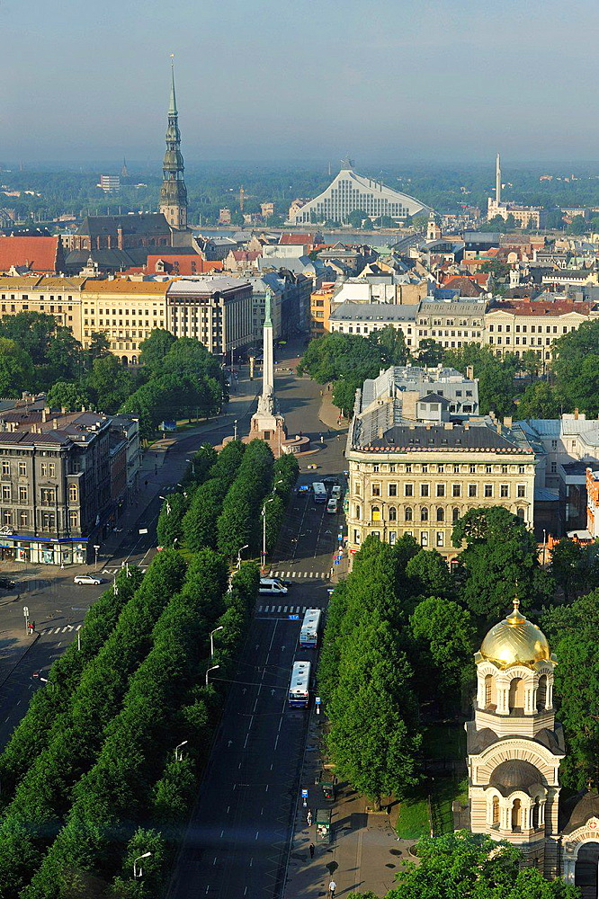 aerial view over the Brividas Avenue toward the Old Town, from Radisson Blu hotel, Riga, Latvia, Baltic region, Northern Europe
