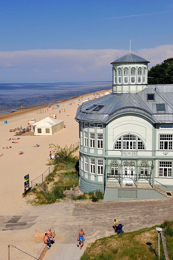 typical house on the beach of Jurmala, Gulf of Riga, Latvia, Baltic region, Northern Europe.