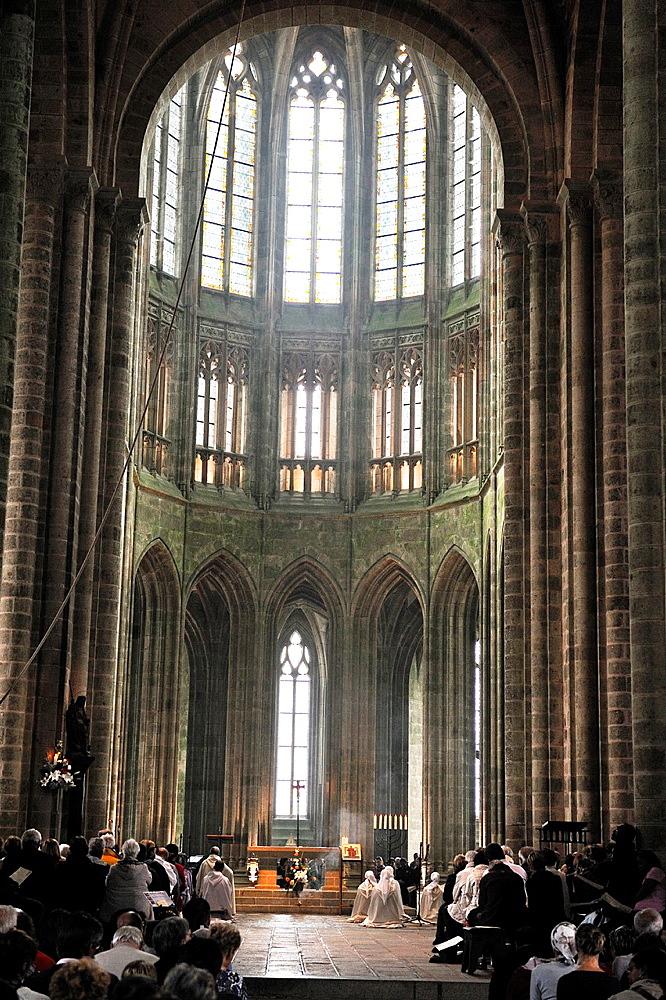 Gothic choir of the church-abbey, Mont Saint-Michel Abbey, Manche department, Low Normandy region, France, Europe.