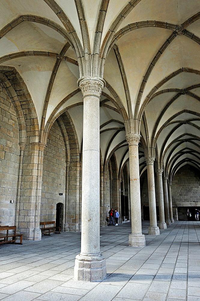 Hosts Room, Mont Saint-Michel Abbey, Manche department, Low Normandy region, France, Europe.