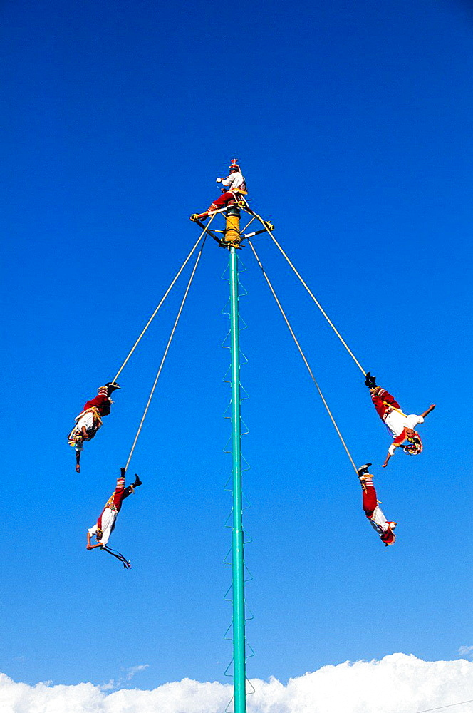 The Danza de los Voladores, Dance of the Flyers, or Palo Volador, Pole Flying, is an ancient Mesoamerican ceremony and ritual, Tulum. Mexico