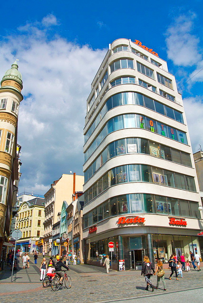 Dum obuvi Bata the functionalist Bata shop 1932 by Vladimir Karfik at Soukenne namesti square Liberec Czech Republic Europe
