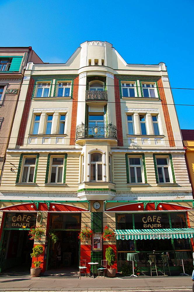 Secession era architecture in Trida Miru street central Pardubice city eastern Bohemia Czech Republic Europe.
