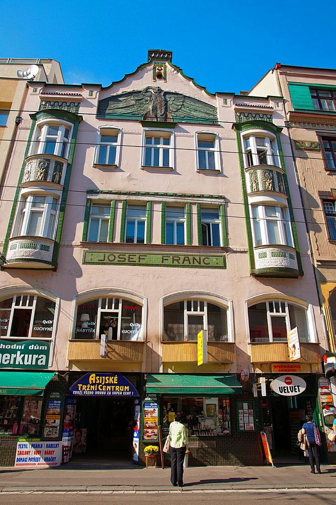 Secession era building by Josef Franc in Trida Miru street central Pardubice city eastern Bohemia Czech Republic Europe.