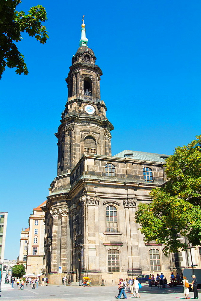 Kreuzkirche church Altstadt the old town Dresden city Saxony state eastern Germany central Europe.