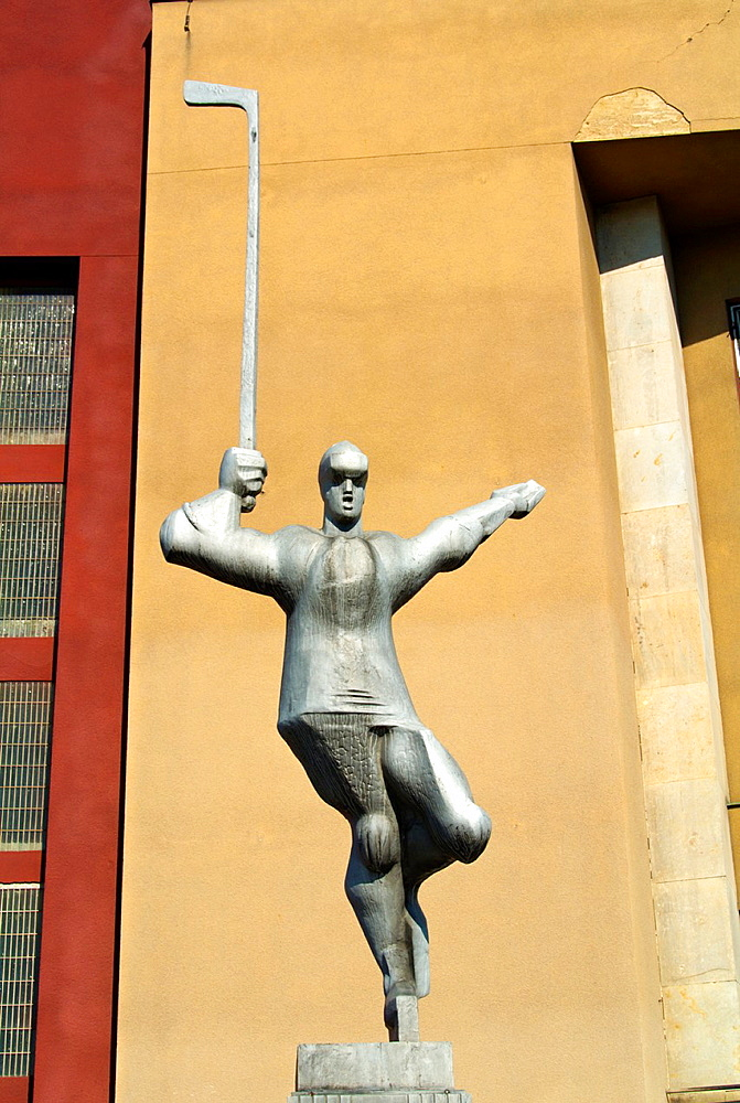 Hokejista the hockey player sculpture (1985) by Zdenek Nemecek in front of ice hockey arena at Vystaviste Holesovice district Prague Czech Republic Europe.