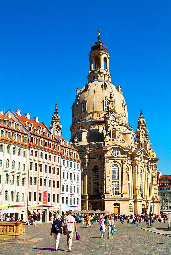 Frauenkirche church Neumarkt square Altstadt the old town Dresden city Germany central Europe.