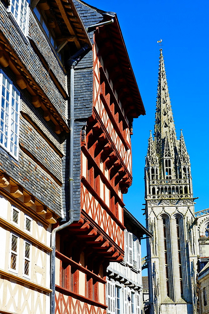 France, Briitany, Finistere, Quimper, medieval houses on Kereon street.