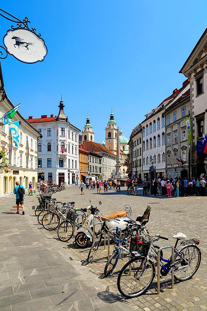Ljubljana, old town, Mestni trg, Slovenia.