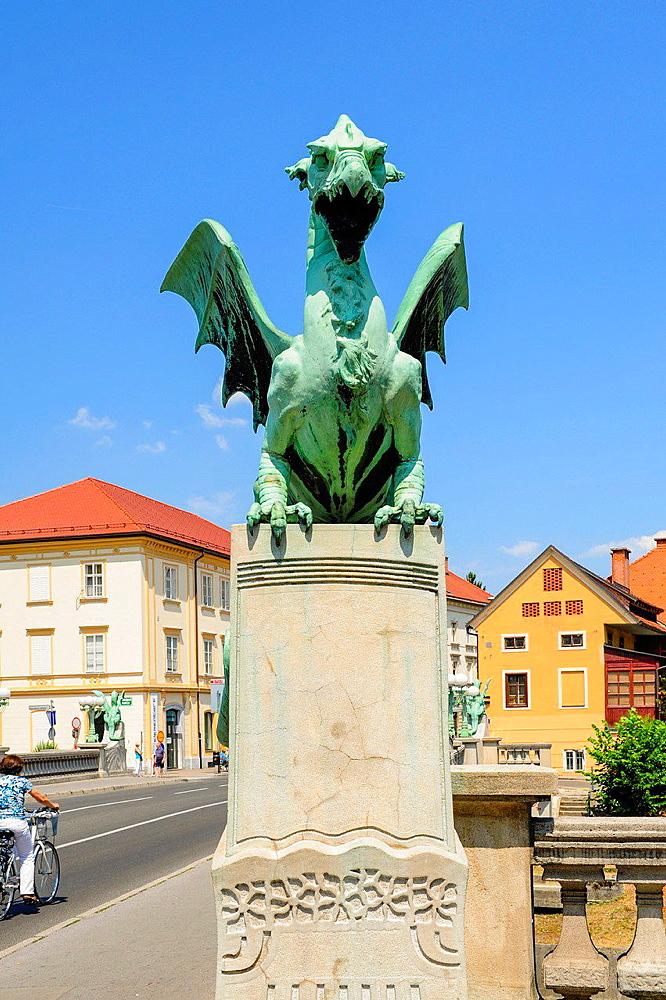 Ljubljana, old town, market place, Dragon Bridge, Zmajski most, 1900, 1901, Slovenia.