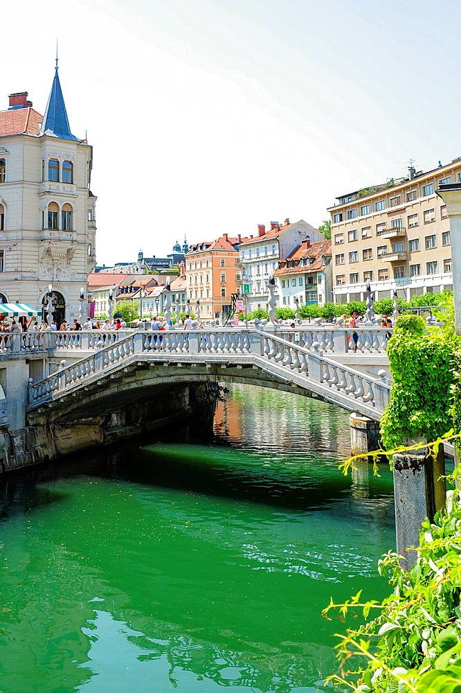 Ljubljana, Tromostovje, three bridges (Plecnik), Petkovskovo nabrezje, Slovenia.