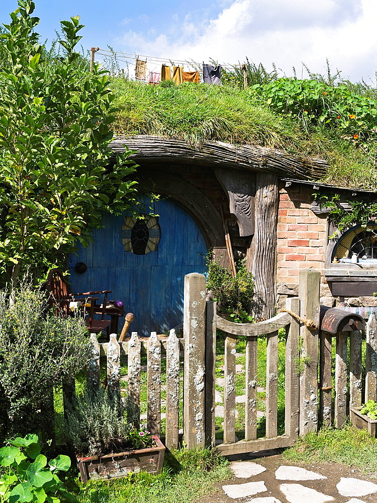 Hobbiton New Zealand Hobbits Cottage Door Film Set Movie Site.