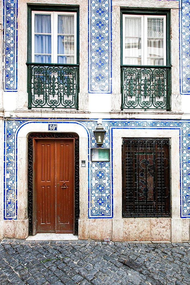 Typical Portuguese Doors in Bairro Alto, Lisbon, Portugal, Europe.