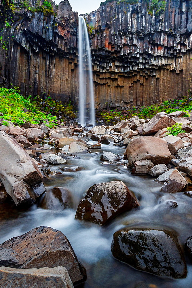 Svartifoss waterfall. Skaftafell National Park. Iceland, Europe.