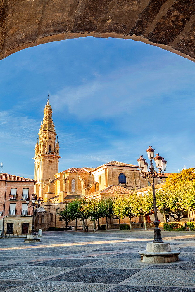 St. James way, View of the Cathedral from Espana square at Santo Domingo de la Calzada, La Rioja, Spain.