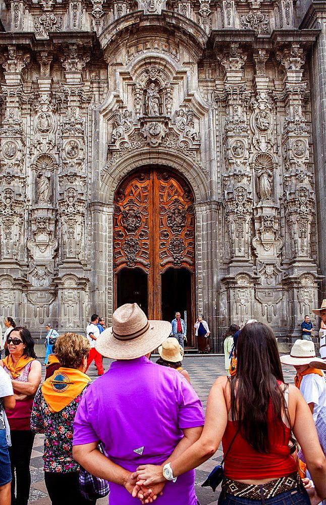 Facade of Sagrario church, in Metropolitan Cathedral, in Plaza de la Constitucion, El Zocalo, Zocalo Square, Mexico City, Mexico.