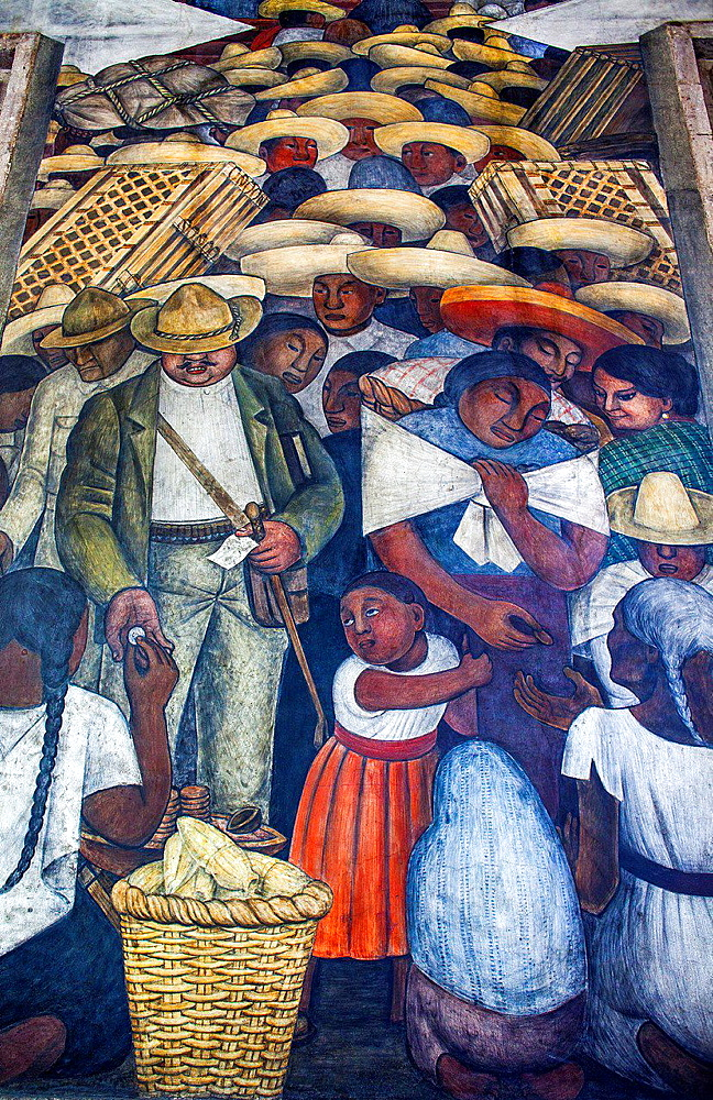 The Market by Diego Rivera, at SEP (Secretaria de Educacion Publica),Secretariat of Public Education, Mexico City, Mexico.