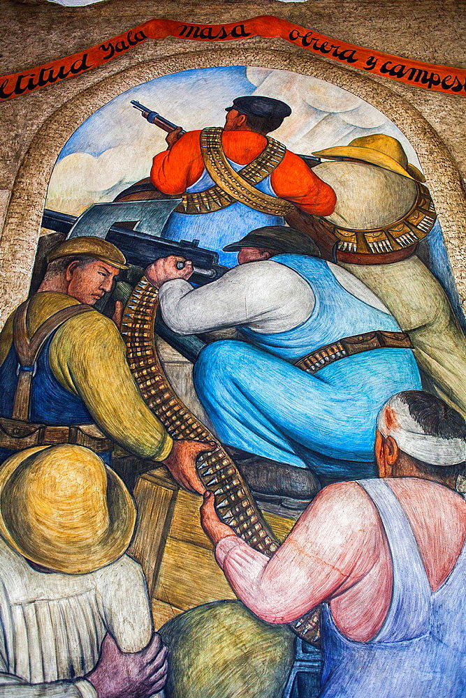 In the trench by Diego Rivera, at SEP (Secretaria de Educacion Publica),Secretariat of Public Education, Mexico City, Mexico.