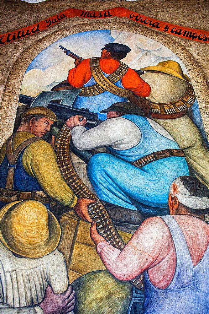In the trench by Diego Rivera, at SEP (Secretaria de Educacion Publica),Secretariat of Public Education, Mexico City, Mexico.