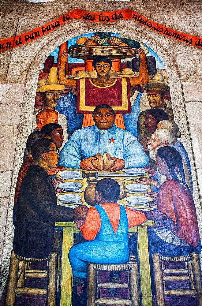 Our daily bread by Diego Rivera, at SEP (Secretaria de Educacion Publica),Secretariat of Public Education, Mexico City, Mexico.
