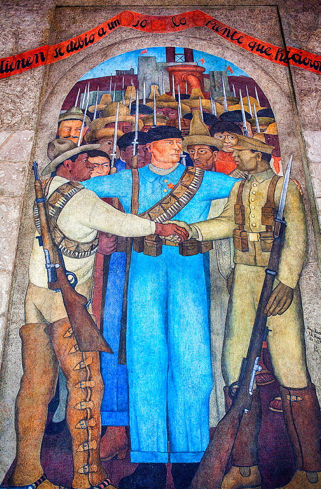 An only front by Diego Rivera, at SEP (Secretaria de Educacion Publica),Secretariat of Public Education, Mexico City, Mexico.