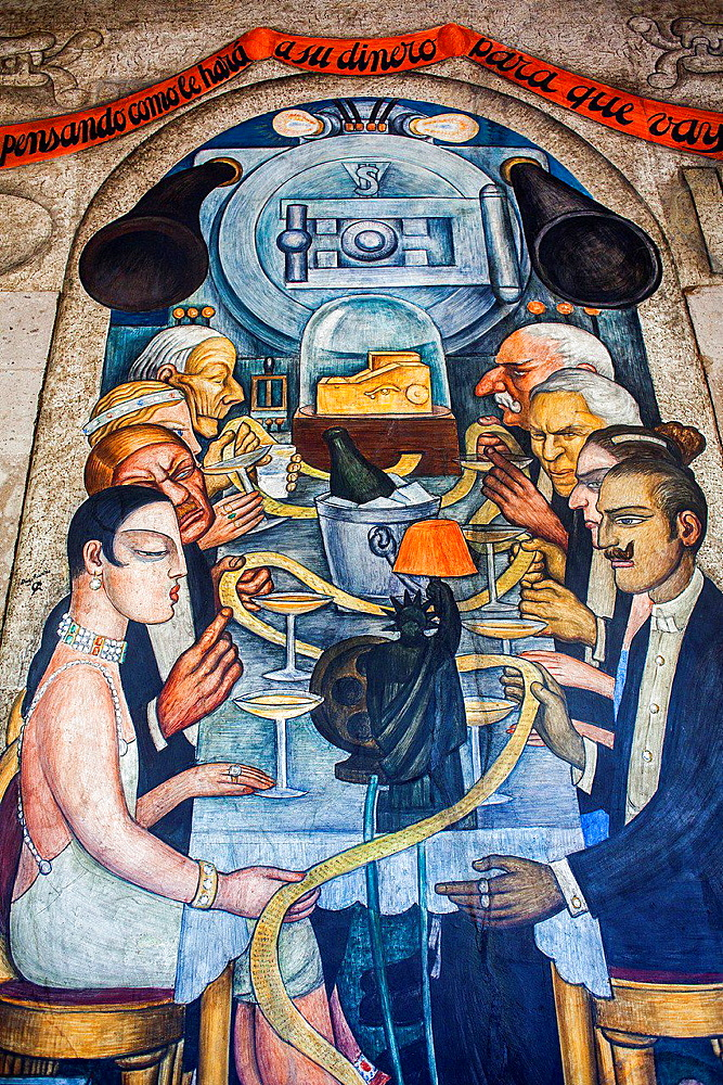 Wall street banquet by Diego Rivera, at SEP (Secretaria de Educacion Publica),Secretariat of Public Education, Mexico City, Mexico.